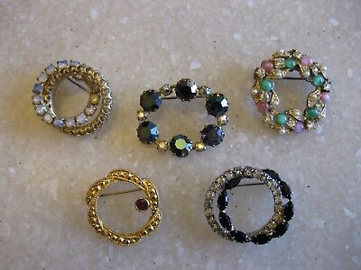 Lot of 5 Vintage & Recent Circle Oval Pins Brooches Glass Rhinestones Faux Pearl