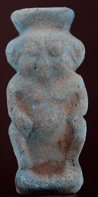 Egyptian blue faience Bes statue 6,7 cm.