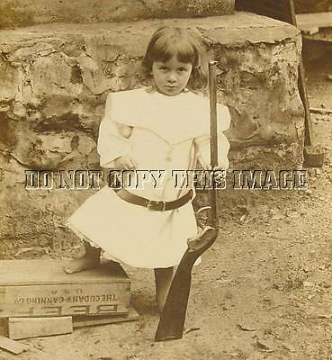 Antique Reprinted 8X10 Photograph > Little Girl With Model1895 King Bb Gun