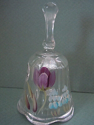 Fenton Glass Mini Bell Hand Painted with Tulips Signed R Dehnart