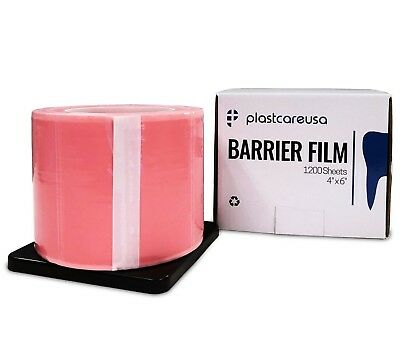"""Pink Barrier Film Tape, Dental, Adhesive Lab 1200 4"""" x 6"""" (Case of 8 Rolls)"""