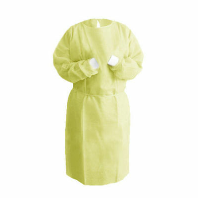 Isolation Gown Knitted Knit Cuff, Yellow, Medical Hospital Dental (Bag of 10)