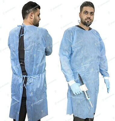 50 Blue Isolation Lab Gowns SMS Knitt Cuffs Medical Dental Hospital Disposable