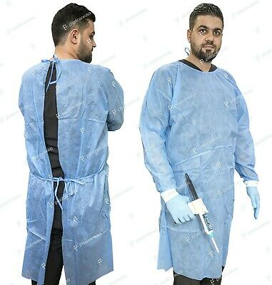 Isolation Gown Knitted Knit Cuff, Blue, 23 G SMS, Medical Dental (Case of 50)