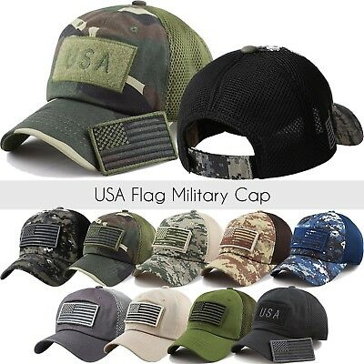 24b6ab5feb6 US Military Cap American FLAG Hat Detachable Baseball Mesh Tactical Army  Camo