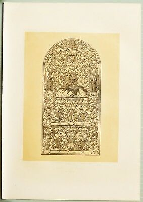 Large 1862 Exhibition Print Ornamental Cast Iron Panel From Muhlheim Prussia