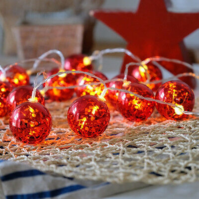 2m Red Ball Fairy Lights 20 LED Battery Operated String Lights Home Xmas Decor