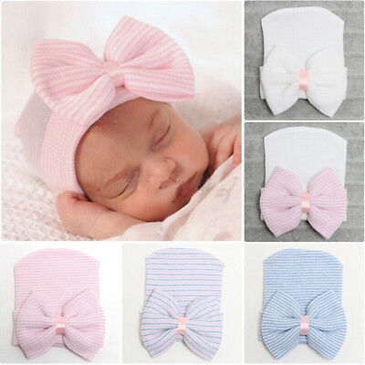 1XNewborn Baby Infant Girl Toddler  Comfy Bowknot Hospital Cap Beanie Hat Fad UK