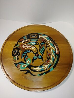 Pacific Northwest Canada Native American Indian Wooden Wall Art Totem Whale Folk