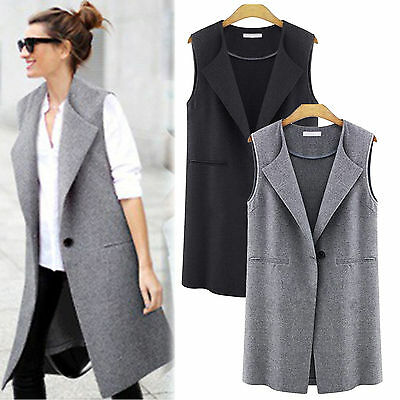 Womens Vest Trench Coat Cardigan Sleeveless Long Lapel Waistcoat Blazer Outwear