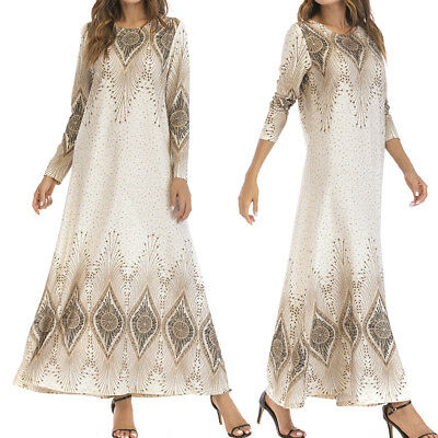 Women's Vintage Kaftan Abaya Islamic Muslim Cocktail Long Sleeve Long Maxi Dress