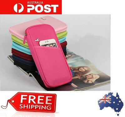 Travel Passport Credit ID Card Cash Wallet Purse Holder Case Document ZIP Bag