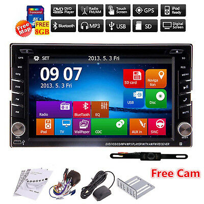 GPS Double Din Car Stereo Radio DVD mp3 Player Bluetooth with Map+Backup Camera
