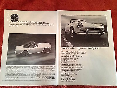 Vintage 2-page Triumph TR-4 Spitfire car print ad  Great to frame!
