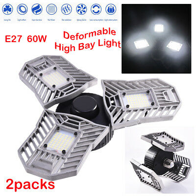 2xE27 Deformable High Bay UFO LED Light 60W Grade Industrial Warehouse Work Lamp