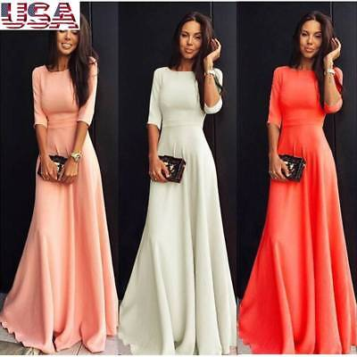 Women's Floral Summer Beach Sundress Long Maxi Dress Long Sleeve Evening Party
