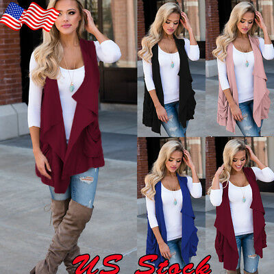 USA Women Sleeveless Cardigan Open Front Draped Solid Casual Mid Length Sweater