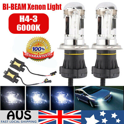 2X H4-3 55W 6000K HID Xenon Light Car Headlight Conversion + Slim Ballasts Kit