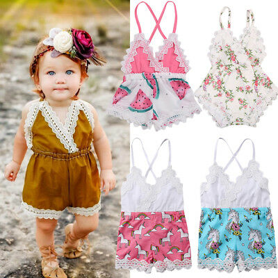 Toddler Newborn Kids Baby Girls Romper Jumpsuit Bodysuit Outfits Sunsuit Clothes