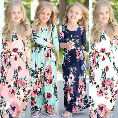US Canis Kids Baby Girl Fashion Boho Long Maxi Dress Long Sleeve Floral Dress
