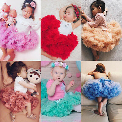 US Stock Canis Kids Girls Pleated Fluffy Tutu Skirt Pettiskirt Party Dance Dress