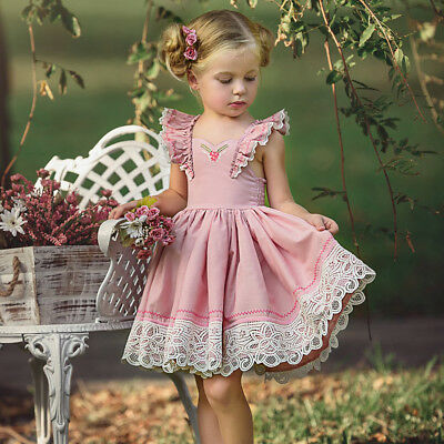 Toddler Kids Baby Girls Sleeveless Lace Floral Party Tutu Dress Outfits Clothes