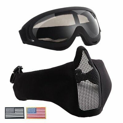 Lightweight Half Metal Steel Mesh Face Mask And UV400 Goggles+Armband Set CO