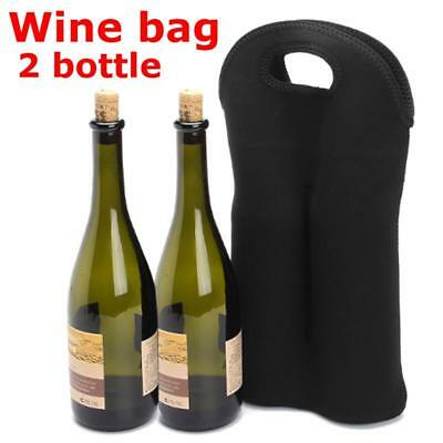 Black Carrier 2 Wine Bottle Holder Neoprene Insulated Elastic Storage Bag Cover