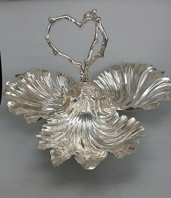 Silver plate clam shell revolving fish serving dish by Walker & hall
