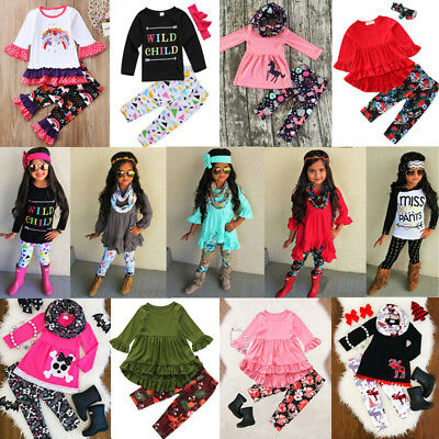 Kids Baby Girl Floral Unicorn Top T-shirt Dress Legging Pant Outfit Set US Stock