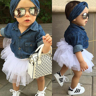 Infant Newborn Kids Baby Girl Romper Tops+Skirt Dress+Headband Clothes Outfits
