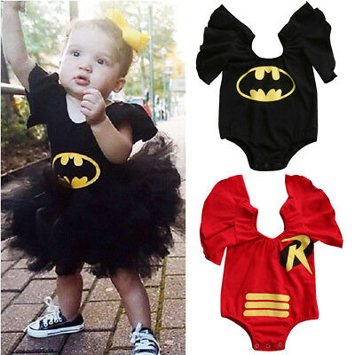 Toddler Newborn Baby Girl Batman Cartoon Bodysuit Romper Jumpsuit Outfit Clothes
