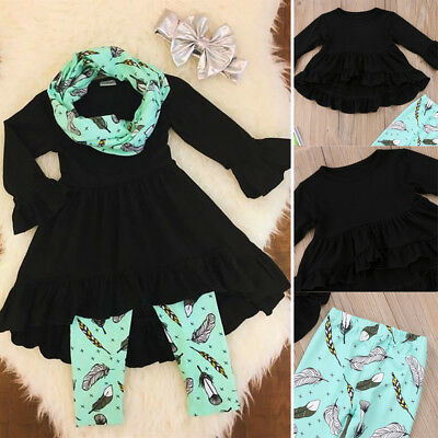 USA Toddler Kids Baby Girls Outfit Floral Tops T-shirt Pants Leggings Clothes