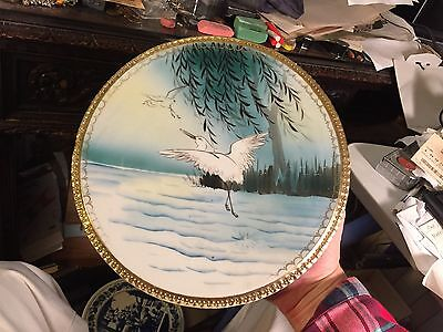 Antique Japanese plate MM Hand Painted flying Crane bird 10 1/4 inches dia nice