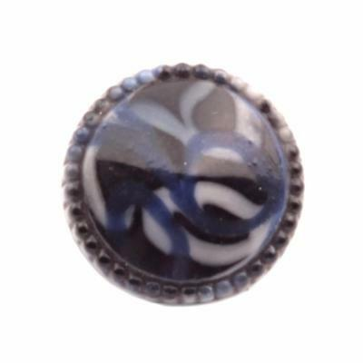 (1) 16mm antique Czech blue white swirl black cone lampwork glass button