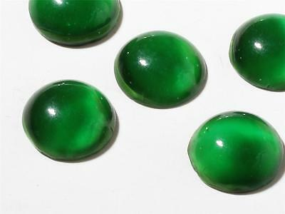 (1) 16 mm Antique vintage Bohemian Czech rare green satin givre glass cabochon
