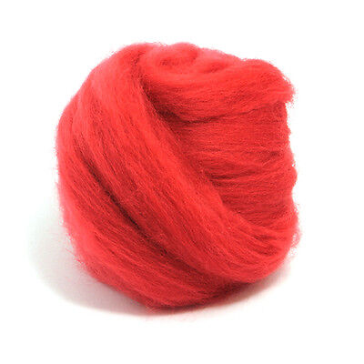 100g Dyed Merino Wool Top Poppy Red Dreads Needle Spinning Felting Roving
