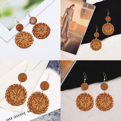 New Fashion Boho Women Round Wooden Rattan Straw Weave Drop Earrings Jewelry