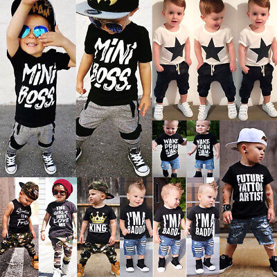 Canis Kids Baby Boys Camo Denim Outfits Tops T-shirt Pants Trousers Clothes Set