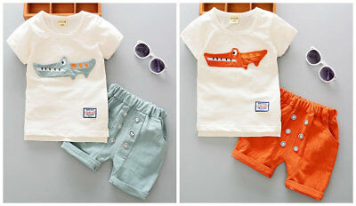 2pcs Toddler Baby Boys summer top Tee+short Pants Outfits Clothes Crocodiles