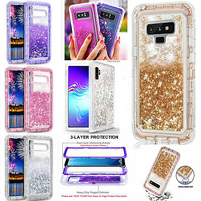 For Samsung s10 9 note9 8 Liquid Flowing Sparkle Clear Bling Quicksand Cute Case