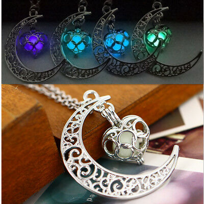Glowing In The Dark Pendant Silver Plated Chain Hollow Moon Necklace Jewelry BS