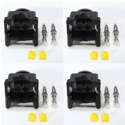 4x EV1 Style Female Fuel Injector Connectors Plug w/ 2x Crimp-on Pins Wiring Cli