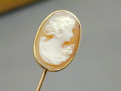 Gorgeous Antique 10k Gold Hand Carved Shell Cameo Stick Pin NR