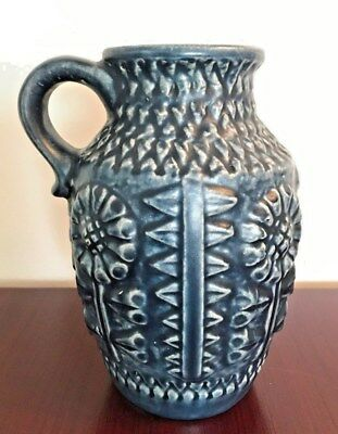 West German Pottery midcentury Henkelvase Bay Keramik Form 258-20 blau blue 60s