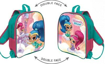 zaino  zainetto asilo shimmer e shine double face 30cm 2 zip