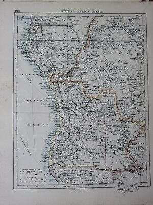 1901 Victorian Map Central Africa West Congo Free State European Possessions