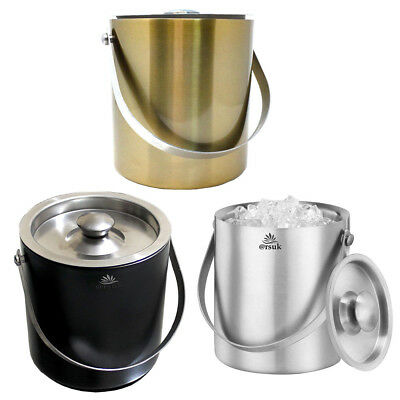 Ice Cube Bucket with Lid 2Liter Double Wall Insulated Stainless Steel Container