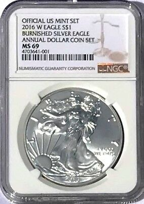2016 W Burnished Silver Eagle Annual Dollar Coin MS69