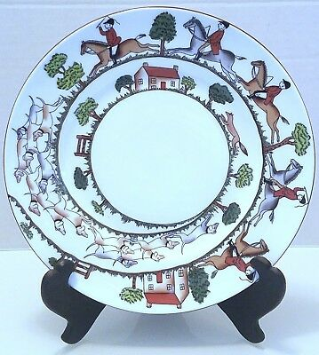 Crown Staffordshire Hunting Scene Salad Plate